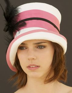 SPRING SALE Kentucky Derby Hat Pink Black & White by AwardDesign