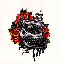 Typewriter tattoo by Nevermore-Ink roses flowers ink ribbon Tattoo Flash Art ~A. Typewriter Tattoo, Clip Art Library, Ribbon Tattoos, Tattoo Flash Art, Body Mods, I Tattoo, Old School, Tatting, Deviantart