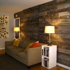 Give a blank wall a warm, rustic finish with an expanse of salvaged wood.
