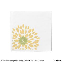 Yellow Blooming Blossom w/ Green Monogram Initial - Personalized Custom Standard Cocktail Napkin - http://www.zazzle.com/k8inked*  #partysupplies