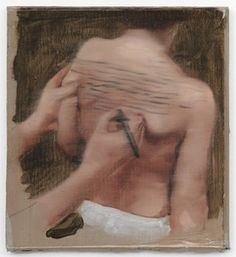 Michael Borremans - 'Epilogue' Oil on Cardboard, 2008. Could be scene from videoclip for my ever unfinished song Lullaby for Buffalo: the blue you painted on my back slowly turned into a black...