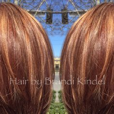 Color correction today on Tonya  started with a level 7 copper with old highlights through crown and a level 6 mahogany shadow box added highlights using Redken Upto7 w/30V & Olaplex, midlights 8Ab, lowlights 7Mv then bumped the base and retouched regrowth with equal parts 7Mv & 7Cr.  Finished with an Olaplex treatment and a trim/style. Client was extremely happy with the results and so was I! ❤️