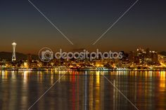 Seattle Downtown Skyline Reflection at Dawn by jpldesigns - Stock Photo