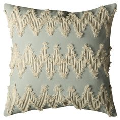 """Natural/Dust Blue Frayed Chevron Throw Pillow (20""""x20"""") - Rizzy Home, Light Off-White"""