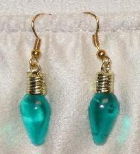 Teal-Green Christmas Lights Earrings $4.00