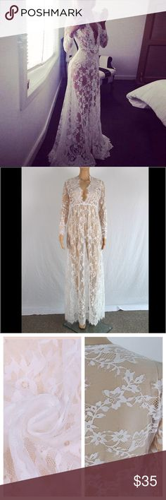 """Lace maxi gown Don't miss out on this sell out! Brand new, super sexy, feminine, and flirtatious, white lace gown. No trades. Dress has a small train in the back. Bust 35"""" waist 27"""" length 63.7 """"  ACTUAL Product being modeled. Dresses Maxi"""