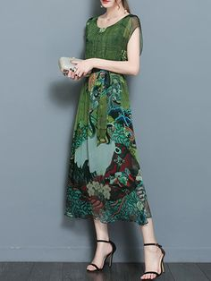 Gracila Women Vintage Printed Short Sleeve Mid-Long Dresses