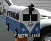 Fire Orange Volkswagen Bus Mailbox by TheBusBox Custom made VW - Choose your color - SplitBusBox. $99.00, via Etsy.