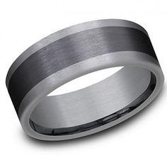 ($675) Modern men's wedding band that is Grey Tantalum/Black Titanium and is 8mm in width. #mens #ring #weddingband #band #weddingring #men #accessories #benchmark