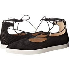 Dr. Scholl's View - Original Collection Women's Shoes ($118) ❤ liked on Polyvore featuring shoes, flats, lace up shoes, pointy toe flat shoes, dr scholls shoes, leather pointed toe flats and pointed-toe flats