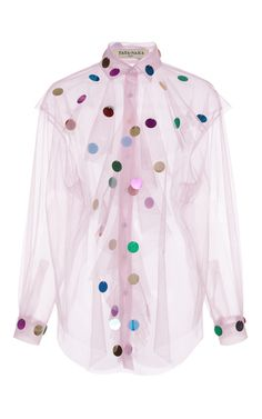This **Tata Naka** embroidered paillette button-up features allover beaded paillette embroidery and a cascading ruffle front.