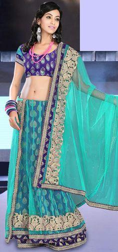$110.84 Green Brocade and Net Chaniya Choli 20722 With Unstitched Blouse
