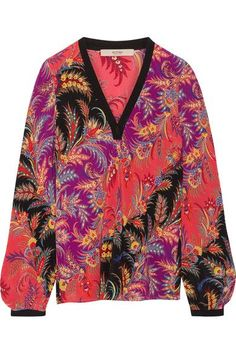 Multicolored silk crepe de chine Slips on 100% silk Dry clean Made in Italy.  Etro Paisley-print silk crepe de chine top