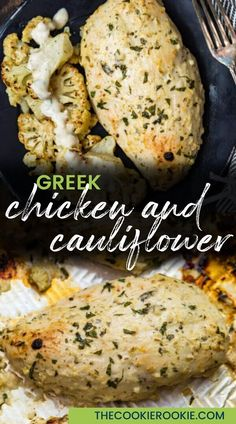 Made with a simple lemon and garlic marinade, this Greek chicken recipe is cooked on sheet pan with roasted cauliflower. It's an easy recipe for busy weeknight dinner. Vegetarian Recipes Dinner, Delicious Dinner Recipes, Appetizer Recipes, Christmas Recipes Dinner Main Courses, Thanksgiving Recipes, Large Family Meals, Greek Chicken Recipes, Healthy Weeknight Meals, Roasted Cauliflower