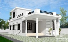 MyHousePlanShop: Single Story House Plan Designed To Be Build In 95 Square Meters Modern Small House Design, Simple House Design, Small Modern Home, Modern Homes, Architecture Design Concept, House Architecture Styles, House Balcony Design, House Front Design, Terrace Design