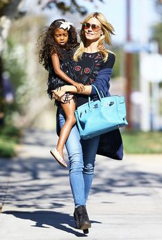 Heidi Klum is a chic mom with her Hermes Birkin Bag