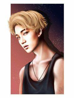 Drew this on my vacation I drew lots actually because I had no internet OTL At first I didn't really like Kai's blonde hair much, and now that I really liked it, it's gone already pahahah I hope yo. Kai Arts, Exo Fan Art, Kpop Exo, Korean Art, Kaisoo, Kim Jong In, Exo Kai, Chinese Boy, Kpop Fanart