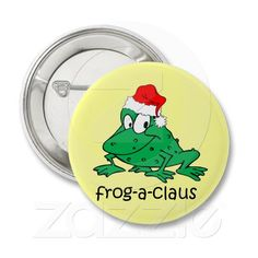 funny frog pinback button