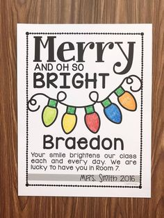 Merry And Oh So Bright Note Freebie - Simply Kinder