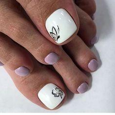 Image may contain: one or more people and closeup Toe Nail Color, Toe Nail Art, Nail Colors, Toe Nails White, Pretty Toe Nails, Diy Nail Designs, Simple Nail Designs, Nail Spa, Pedicure Nail Art