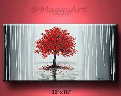original pintura abstracta, arte de la pared, decoración para el hogar oficina, árbol rojo, lluvia misty, árbol de la vida, 36 x 18 pulgadas estirada lienzo, envío gratis en Estados Unidos.