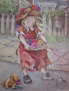 lisi martin artist | Artist postcard. signed Lisi Martin.The Flower by grandma62