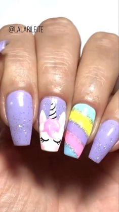 Girls Nail Designs, Nail Art Designs Videos, Nail Art Videos, Disney Acrylic Nails, Best Acrylic Nails, Unicorn Nail Art, Mermaid Nail Art, Little Girl Nails, Girls Nails