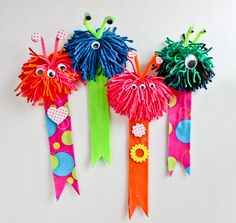 DIY Monster Bookmark. I had so much fun making these cuties today! And one of the best things about these bookmarks is how fast they can be put together. Reading should always be fun, and these little monsters will keep track of the page for your little ones. I'm thinking these would be great for classroom Valentine gifts…or …