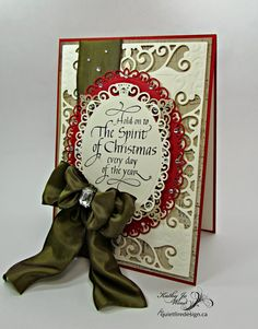 Quietfire Creations: Hold onto the Spirit of Christmas layered card by Kathy Jo stamping