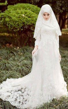 Beauty Muslim Wedding Dresses O Neck Long Sleeve Lace Long A Line Elegant Bridal Dress Formal Wear Customize Handmade Flowers No Hijab Scarf from First_lady_dress,$142.64 | DHgate.com