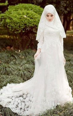 Beauty Muslim Wedding Dresses O Neck Long Sleeve Lace Long A Line Elegant Bridal Dress Formal Wear Customize Handmade Flowers No Hijab Scarf from First_lady_dress,$142.64 | DHgate.com