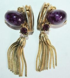 Vintage Gorgeous Rare Signed Schiaparelli Amethyst Gum Drop Tassels Earrings