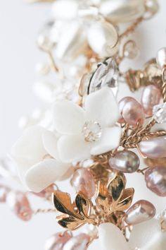 Bespoke for Eugene_gold and blush freshwater pearl wedding headband 3