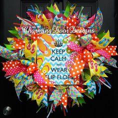 Ready to Ship!! Deluxe Flip Flops Mesh wreath. #wreath #flipflops #summer #pool #poolparty #bow #bows #charmingdoordesigns #door #decor #doordecor #etsy #etsyshop #etsyseller #frontdoor #gift #handmade #home #homedecor #handcrafted #trendy #interiordesign #decorating #beach #party #ribbon #whimsical #keepcalm #polkadots #chevron