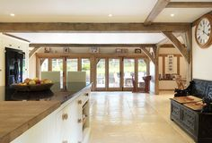 Oakwrights village homes gallery - traditional post and beam Spacious Kitchens, Barn Conversion Interiors, Home Kitchens, Home, Oak Frame House, Modern Townhouse, Timber Frame Building, Oak Framed Buildings, Oak French Doors