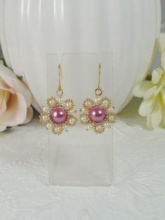 Earrings Woven Pearl Flower Pink by IndulgedGirl on Etsy
