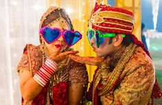 Bride and groom with funky glasses