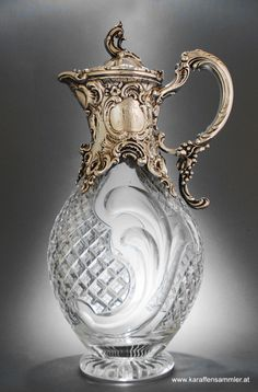 Germany 1880 - made by WILKENS, Bremen - extremely heavy cast silver mounting and finely cut glass PRETTY **+ Cut Glass, Glass Art, Antique Glassware, Bronze, Objet D'art, Antique Silver, Art Nouveau, Perfume Bottles, Antiques
