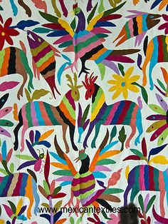 Mexican textile hand embroidered Otomi textile