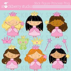 princess & frog clipart {lots of other princess themed set, too}