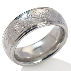 Will Make a cute thumb ring for under $20.00.    Stately Steel Floral Engraved Band Ring