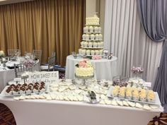 Sweets Table at classic silver, pink, and white wedding. #ChicagoMarriottNaperville #SweetsTable  www.CamilleVictoriaWeddings.com. Victoria Wedding, Chicago Wedding, Wedding Planning, Sweets, Table Decorations, Weddings, Classic, Silver, Pink