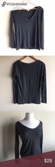 """Soft Joie striped v-neck long sleeve tee shirt Super soft and comfortable striped shirt in grey and black. V neck, raglan sleeves. No stains or holes, minimal wash wear. Measures 18"""" from underarm to underarm and 26"""" long. Joie Tops Tees - Long Sleeve"""