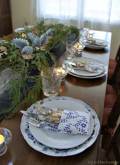 Christmas Table - Up to Date Interiors Blue Danube china