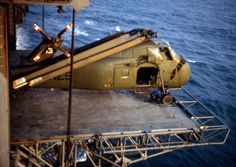 An US Marine Corps Sikorsky Chocktaw helicopter on the USS Iwo Jima's elevator in 1968. Courtesy of Joseph Scholle. Known by some European users as Westland Wessex, as licence built by Westland (now Agusta Westland) in the UK.