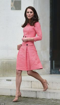 68f1da4541 Kate is wearing an Eponine London skirt suit, her L. Bennett 'Nina' Clutch  and rose suede Gianvito Rossi praline suede pumps.