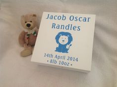 Beautifully Hand Painted, Extra Large, Wooden, Baby's Personalised Keepsake / Memory Box   An absolutely stunning gift for a new baby or Christening.   This extra large box (approx :28 x 28 x 11cm) is hinged and has a clasp fastener to keep your most precious memories safely stored.  It is hand painted in contrasting white and baby blue matte paint with any personalisation/wording, for example a name, date and time of birth, weight, etc.
