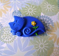 Polymer Clay Blue Cat with flower - pin or magnet