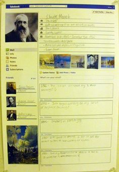 Students were asked to both select an artist and research about them. After they created a fakebook page for that artist which included all biographical information, life timeline, and famous work by the artist. (So many possibilities!!)