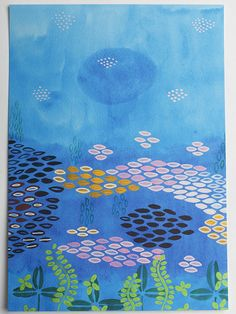 aceo water lily print art nature pink lake blue green by eeliethel